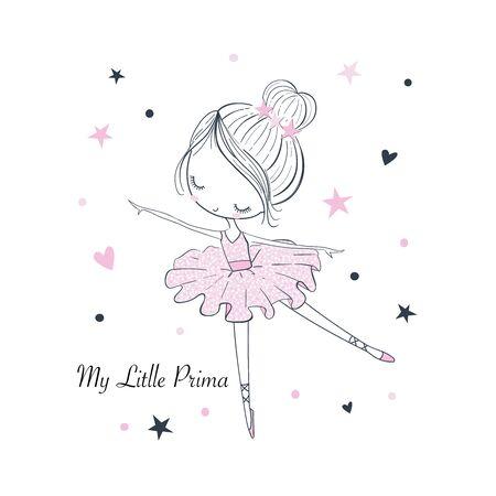 Moja mała Prima Ballerina. ßProsta liniowa na białym tle grafika wektorowa na białym tle. Ilustracja moda na odzież dla dzieci. Używaj do druku, projektowania powierzchni, odzieży modowej, baby shower!