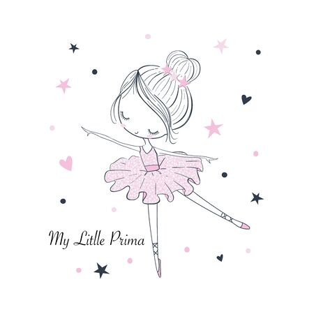 My little Prima Ballerina. ßSimple linear isolated vector graphic on a white background. Fashion illustration for kids clothing. Use for print, surface design, fashion wear, baby shower Illusztráció