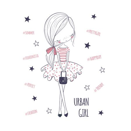 Urban girl. Childish doodle vector graphic. Hand draw illustration perfect for girlish surface designs, fabric print, card, fashion kids wear, textile, baby shower, wall art