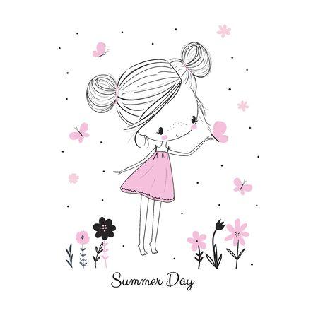 Kleines Mädchen mit Schmetterlingen und Blumen im rosa Kleid. Kindische Doodle-Zeichnung-Vektor-Illustration. Verwendung für mädchenhafte Oberflächendesigns, Stoffdruck, Karte, Mode für Kinder, Babyparty, Wandkunst Vektorgrafik