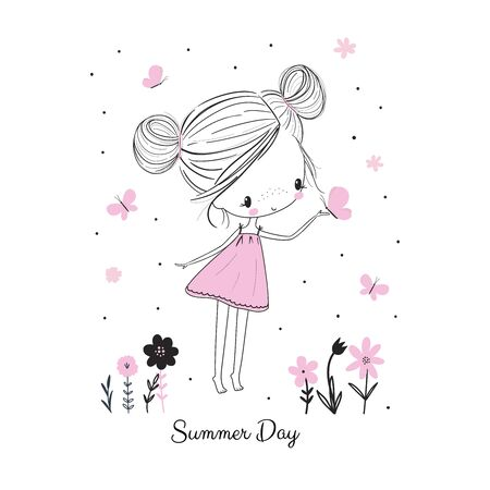 Little girl with butterflies and flowers in pink dress. Childish doodle drawing vector illustration. Use for girlish surface designs, fabric print, card, fashion kids wear, baby shower, wall art Vectores