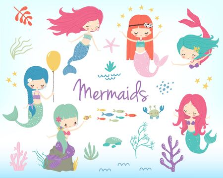Cute little cartoon mermaids clipart. Vector illustration. Marine nautical life childish cartoon character set