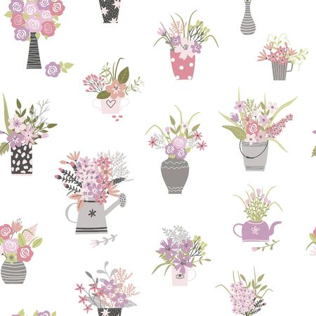Garden plants and flowers hand draw cartoon seamless pattern. Flowers pots and vase cartoon texture. Use for textile, wallpaper, surface design. Vector Vectores