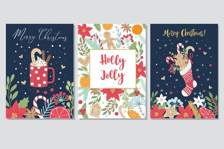 Set of Christmas greeting cards with hand draw lettering and christmas and floral  elements. Christmas and Happy New Year holiday collection. Handwritten calligraphy and hand drawn decorative elements in trendy style. Isolated vector illustration