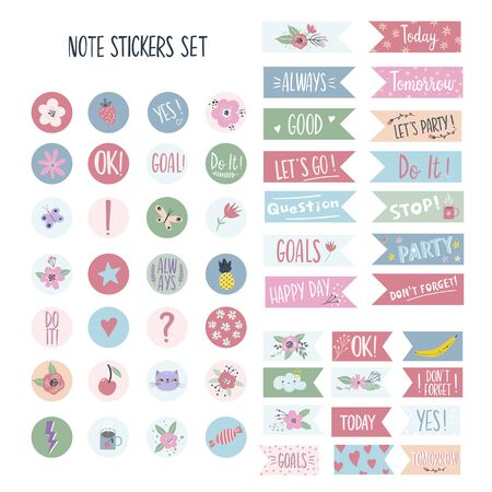 Set of stickers for planners and to do lists with cute illustrations and hand drawn lettering. Template for planners, schedules, agenda, checklists and other kids stationery. Isolated vector illustration