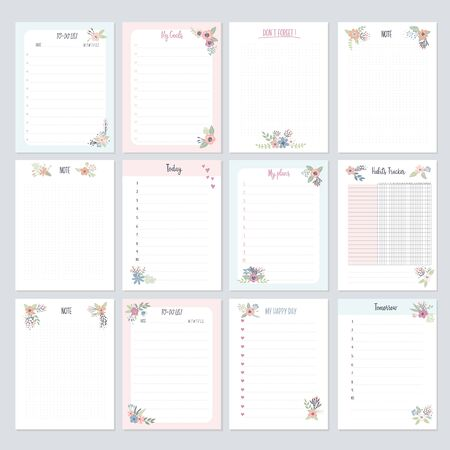 Set of planners and to-do lists with flowers for girls  with cute illustrations and trendy lettering. Template for planners, schedules, agenda, checklists and other kids stationery. Isolated vector illustration