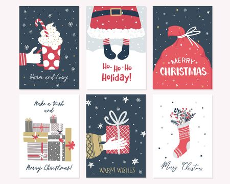 Christmas and New Year card collection in hand draw style. Vector illustration with handwritten modern lettering