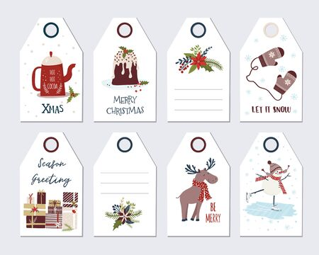 Christmas and New Year Greeting gift tags set . Hand draw holiday label collection. Winter badge design. Isolated vector illustration