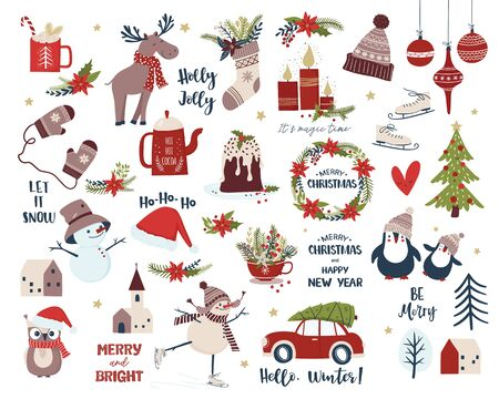 Merry Christmas and New Year collection. Scandinavian design set with snowman, Christmas flowers, houses, candles,  deer, penguin, sock, cup , cake, mittens. Isolated vector Vectores