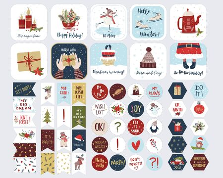 Set of holiday stickers for planners and to do lists with cute Christmas illustrations and hand drawn lettering. Template collection for planners, schedules, agenda, diary, checklists and other stationery. Isolated vector illustration Vectores