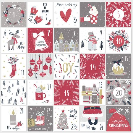 Christmas advent  calendar in hand draw style. Count down till Christmas kit. Twenty five Christmas countdown printable tags set. Vector illustration in cute hand draw style