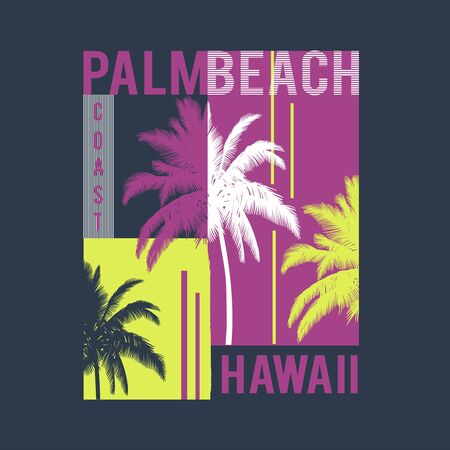 Hawaii Palm Beach. Vector t-shirt design with typography. Use for fashion wear, apparel t-shirt, print, textile, banner, flyer. Vector isolated Ilustrace