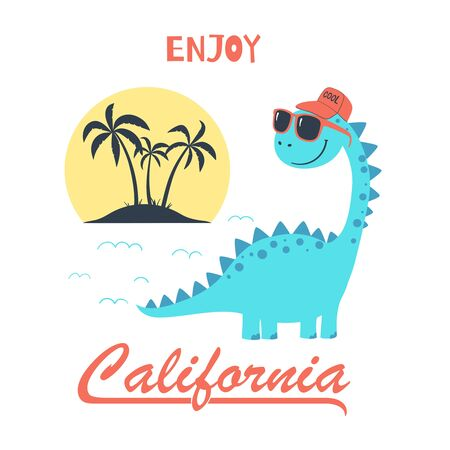 Cartoon illustration with cute dinosaur and slogan. Summer illustration for kids clothing. Use for fashion wear, apparel t-shirt print, textile, surface design. Vector isolated