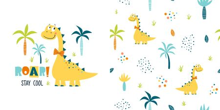 Graphic set of cartoon illustration and seamless pattern with cute dinosaur and slogan. Summer illustration for kids clothing. Use for  fashion wear, apparel, t-shirt print, textile, surface design. Vector isolated Ilustrace