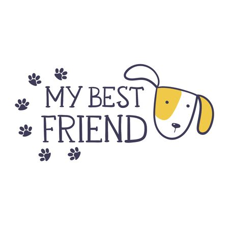My best friend. Cute t-shirt design for kids. Cartoon hand drawn vector illustration with lettering. Perfect for kids fashion wear, apparel t-shirt print, textile, surface design