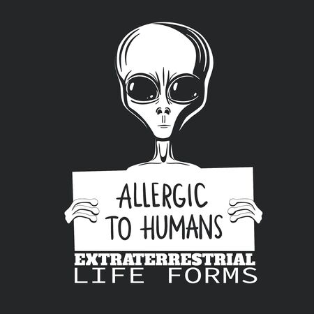 Comic T-shirt illustration with alien. Humanoid. Extraterrestrial life. T-shirt design. Vector isolated