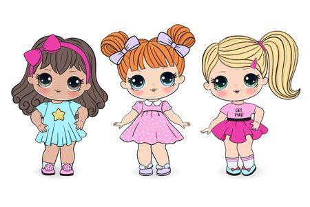 Beautiful cute little girls on the white background. Vector illustration Ilustracje wektorowe
