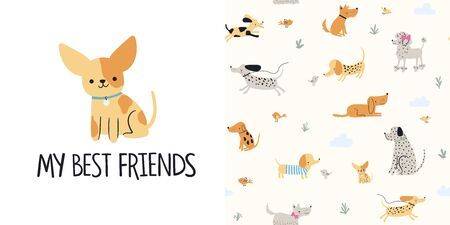 Graphic set of hand drawn illustration and seamless pattern with cute dogs. Cute t-shirt and textile design for kids clothing. Use for  fashion wear, apparel, t-shirt print, textile, surface design. Vector isolated