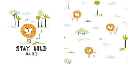 Graphic set of cartoon illustration and seamless pattern with cute lion and slogan. Hand drawn summer illustration for kids clothing. Use for  fashion wear, apparel, t-shirt print, textile, surface design. Vector isolated