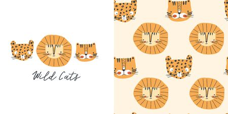 Graphic set of cartoon illustration and seamless pattern with cute lion, tiger, panther and slogan. Hand drawn illustration for kids clothing. Use for  fashion wear, apparel, t-shirt print, textile, surface design. Vector isolated