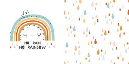 Graphic set of hand drawn illustration and seamless pattern with rainbow. Cute t-shirt and textile design for kids clothing. Use for  fashion wear, apparel, t-shirt print, textile, surface design. Vector isolated