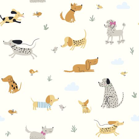 Cute little dogs. Vector seamless pattern for kids