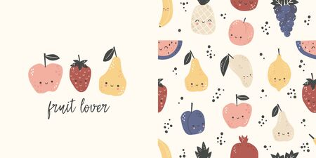 Graphic set of hand drawn illustration and seamless pattern with cute fruits. Cute t-shirt and textile design for kids clothing. Use for  fashion wear, apparel, t-shirt print, textile, surface design. Vector Ilustrace
