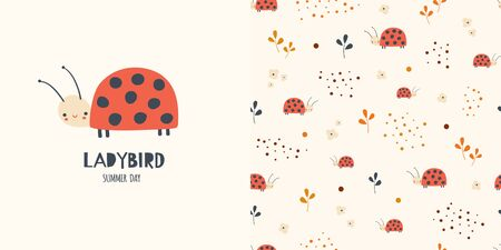 Graphic set of hand drawn illustration and seamless pattern with cute ladybirds. Funny t-shirt and textile design for kids. Use for  fashion wear, apparel, t-shirt print, textile, surface design. Vector Ilustrace