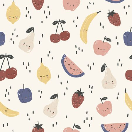 Seamless pattern with cute different fruits. Cartoon vector illustration Ilustrace