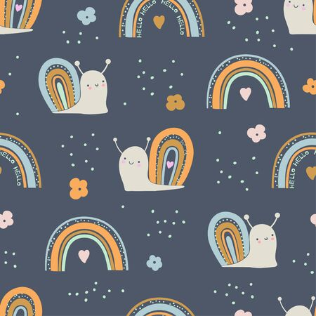 Seamless pattern with cute little snails. Hand drawn vector illustration for kids Ilustrace