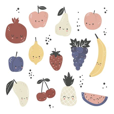 Set of cute cartoon fruits. Hand drawn organic fruits collection. Vegetarian food. Vector isolated in cartoon style