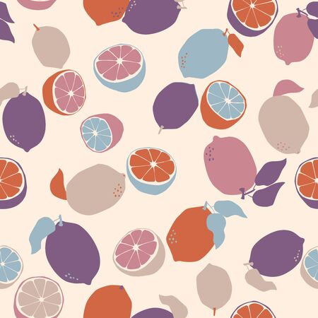 Trendy  seamless pattern with colored  lemons. Hand drawn modern design. Use for fabric, paper, surface design. Vector Ilustrace