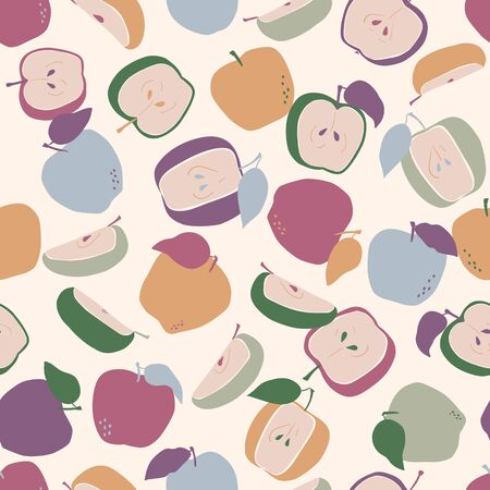 Hand drawn seamless pattern with apples. Vector repeat background trendy style drawing. Use for fabric, print, wallpaper, surface design