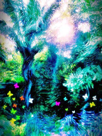 surrealism: Forest of fantasy. Surrealism. Stock Photo