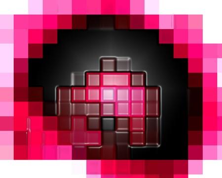 Rosa y negro pixelada. La abstracción geométrica