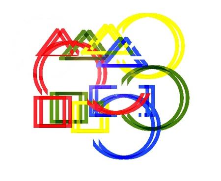 Conjunto de figuras geométricas. La abstracción geométrica. Foto de archivo