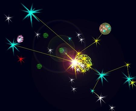Taurus constelation with location lines. photo