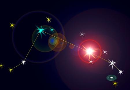 Aries constelación con las líneas de ubicación. Foto de archivo