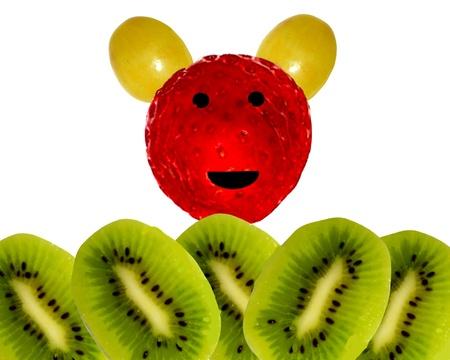 Juguete de fresa con orejas de uva childrens composición