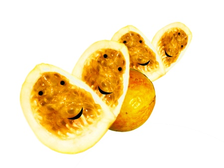 La fruta de la pasión sonriente