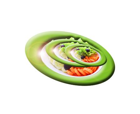 Juego Expresión ensalada vegetal Foto de archivo
