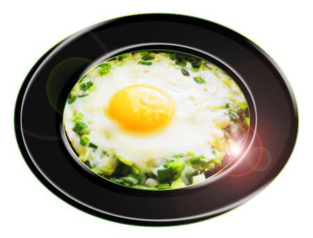Huevo con el respaldo Composición ajo fresco Foto de archivo