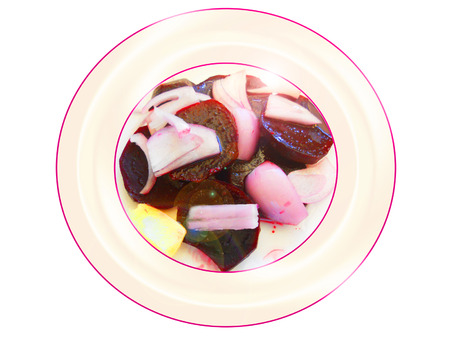 Beetroot with onion salad. Composition Foto de archivo