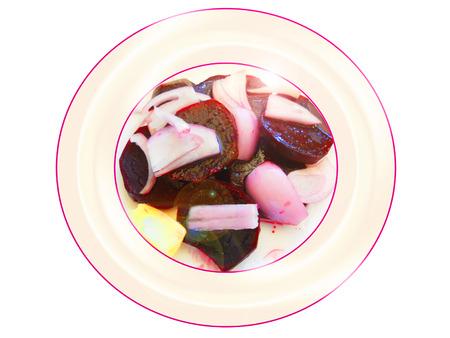Remolacha con ensalada de cebolla. Composición