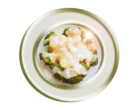 Brócoli con salsa bechamel. Composición