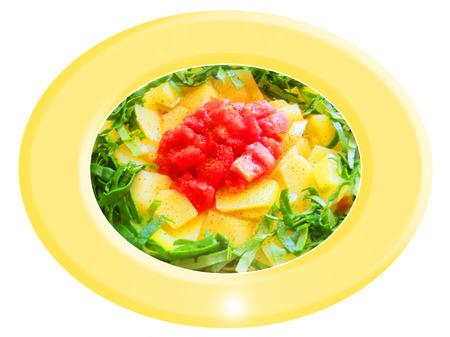 Patatas con espinacas y ensalada de tomate. Composición