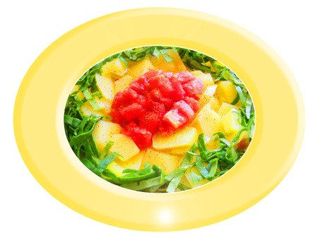Potatoes with spinach and tomato salad. Composition Foto de archivo