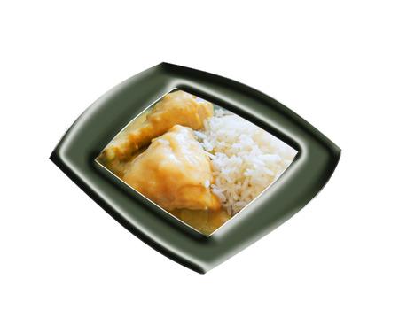 Pollo con salsa de naranja y arroz Foto de archivo