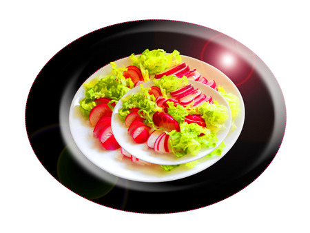 Radish with lettuce salad. Composition