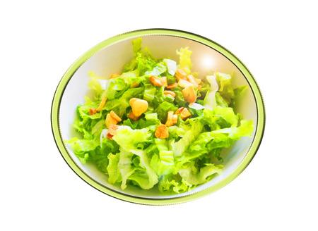 Lechuga con ajos ensalada. Composición.